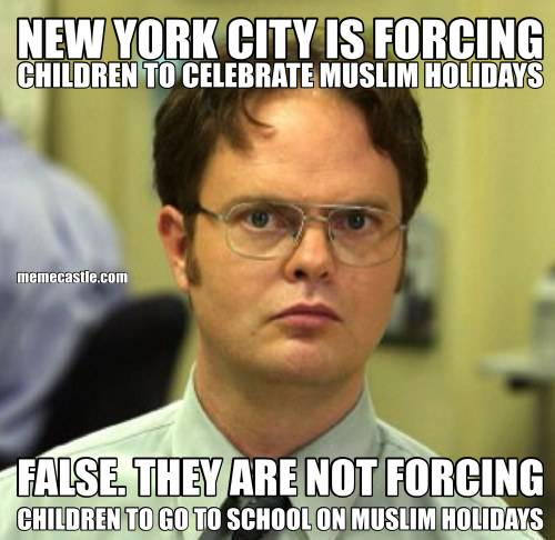 NEW YORK CITY IS FORCING CHILDREN TO CELEBRATE MUSLIM HOLIDAYS FALSE. THEY ARE NOT FORCING CHILDREN TO GO TO SCHOOL ON MUSLIM HOLIDAYS